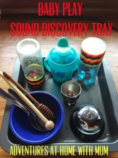 Adventures at home with Mum: Baby Sound Discovery Tray Educational Activities For Toddlers, Sensory Activities, Infant Activities, Nursery Activities, Enrichment Activities, Baby Sensory, Sensory Bins, Sensory Play, Toddler Play