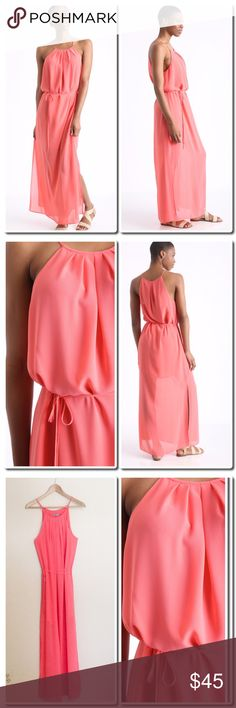 """🎀HP🎀 NWOT Maxi Dress In Coral Mireya maxi dress Hi-neckline Tie waist accent Side slit Flowy fit Interior lining 100% polyester Dry clean only Measures approximately 60"""" from shoulder Model shown wearing size extra small (XS) Made in the USA Dresses Maxi"""