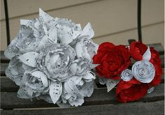 Wedding flowers Package.  costom order  Paper Flower,Boutonniere Paper Flower ,Wedding flowers , Made from music  paper