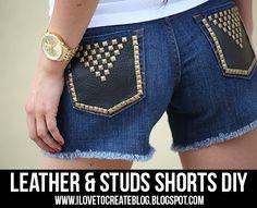 iLoveToCreate Blog: Leather & Studs Shorts DIY