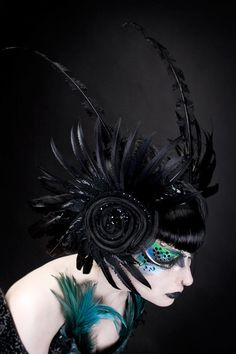 Black Feather and Crystal Beaded Headpiece by Imaginarium Apparel. $450.00.
