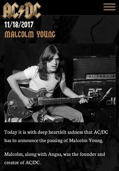 Malcolm Young November 18th, 2017 - January 6th, 1953 R I P