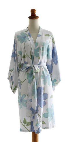 robe légère d'Été blanche frise hibiscus – couleur : violet