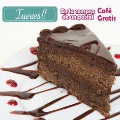 HOY y todos los Jueves, nosotros te REGALAMOS el CAFÉ en la compra de un pastel! Ven por el tuyo!