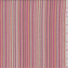 Raspberry pink, red, gold, white, hot pink and black with embroidered accent stripes. This lightweight cotton blend fabric has a crisp hand and slight stretch.
