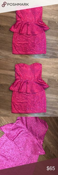 Small Barbie pink sequin strapless peplum dress Worn once for my 25th birthday   This dress is absolutely stunning Dresses Mini