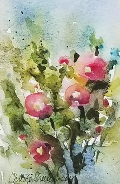 "Summer Blessings – Original Watercolor on 300 lb. paper.  4"" x 6"" unframed.  Christy Sheeler, Montana watercolor artist, inspired by nature's beauty daily.  Loose and vibrant expression of hollyhocks with bold strokes and color.  Pin now and shop later!"
