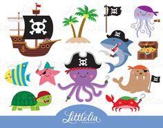 Animal pirate clipart - animal clipart - pirate clipart - 15092