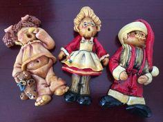 Vintage 1992 Santa & Mrs. Clause  Girl Homemade Bread / Salt Dough Ornament