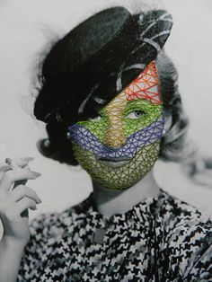 Enjoy the playful embroidery collages by the Dutch artist Hagar Vardimon-van Heummen, better-known as Happy Red Fish. Collages, Collage Artists, Stitching On Paper, Image Stitching, Blog Art, Black And White Prints, Black White, Contemporary Embroidery, Thread Art