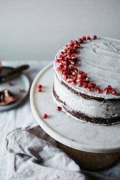 chocolate layer cake with cacao macadamia mousse + coconut whip