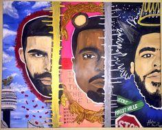 Drake, Kanye, J Cole Acrylic Large Painting J Cole Drawing, J Cole Art, African Colors, Hip Hop Art, Dope Art, Large Painting, Black Magic, Black Art, Rap Us