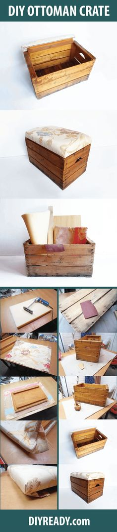 Check out DIY Storage Ottoman | Turn a Vintage Wooden Crate Into a Storage Ottoman at https://diyprojects.com/diy-storage-ottoman/