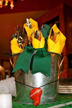 """Super Bowl Party Idea-Table Decorations """"Wrap em up"""" silverware."""