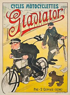 Humorous poster for Gladiator, motorcycle mailman blowing past the bicycle postman. (I love the surprised expression of the dog, by the way; the illustration of the dog is adorable!  For some reason he reminds me of the drawings from TinTin, but I think it's the style of illustration.)