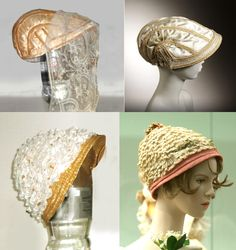 "Some Regency Hats, repros destined for the ""Fashions of the Fury"" exhibit at French Azilum, in May. Top, satin and straw- braid-trimmed capote (looks like a nautilus shell to me), bottom, straw-edged, with tiers of antique style bobbin lace over a silk crown (hidden under all the lace!) At the right, the originals; inspirations from the Met, and Napoleon, Empire of Fashion exhibit."