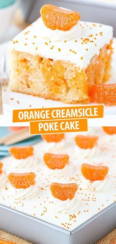 This Orange Creamsicle Poke Cake is made with a homemade vanilla cake that's soaked with a mix of sweetened condensed milk and orange Jello powder. It's topped with vanilla whipped cream for the perfect orange creamsicle cake recipe! Best Cake Recipes, Dessert Recipes, Sweet Desserts, Delicious Desserts, Orange Creamsicle Cake Recipe, Homemade Vanilla Cake, Condensed Milk Cake, Orange Jello, Cake Cookies