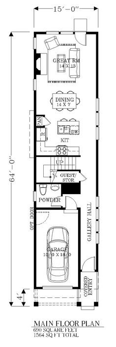 For inspiration for a more narrow plan with 1 car garage minus the great room and second floor and bed space where dining area is shown (House Plan 46245 Level One)