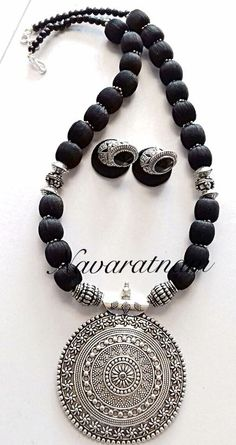Silk thread black beauty with a grand pendant perfect for cotton saree Oxidised Jewellery, Bead Jewellery, Beaded Jewelry, Jewelery, Silver Jewellery Indian, Silver Jewelry, Silver Earrings, Silver Ring, Earrings Uk