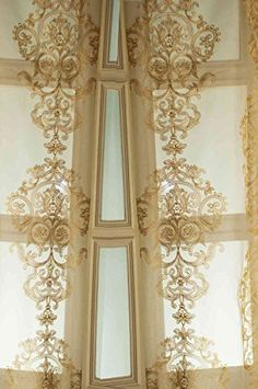 Gold Silk organza with gold medallion embroidered window sheer curtain panel Silk Curtains, Sheer Curtain Panels, Panel Curtains, Window Coverings, Window Treatments, Window Sheers, Custom Drapes, Gold Silk, Beautiful Interiors