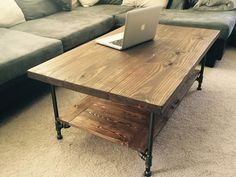 Large Industrial Rustic Wood Coffee Table This Rustic Coffee Table Is Made From Black 1