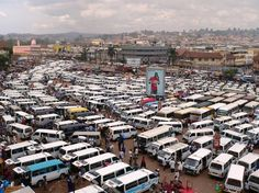 The craziness of the main taxi park in Kampala, Uganda