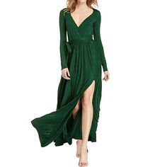 Amazon.com: Sue&Joe Women's Maxi Dress Plunge V-neck Long Sleeve Front High Slit Evening Gown: Clothing