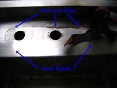 Trucos para el cambio de mezcladora en tarja fregadero - En las siguientes dos imágenes se muestran los rastros del sarro o calcio acumulados en el acero inoxidable
