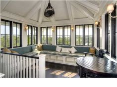 Love this Blackwater Street, Santa Rosa Beach FL - Trulia Porch Gazebo, Screened Porches, Victorian Conservatory, Backyard Plan, Built In Seating, Great Rooms, My Dream Home, Interior Architecture, Building A House