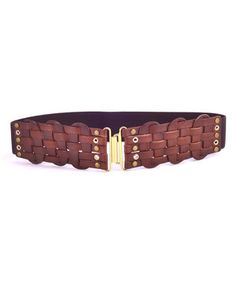 736261157aa Elise M Cappuccino Farrah Leather Stretch Belt by Elise