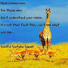 Have compassion for those who don't understand your vision, it's not their fault they can't see what you see... W www.soulfulsistahsspeak.weebly.com