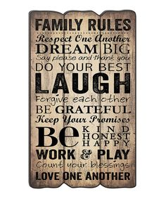 Look at this 'Family Rules' Fence Post Wall Sign on #zulily today!