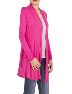 iB-iP Womens Strip Cardigan Sweater, Hot Pink at Amazon Women's Clothing store: