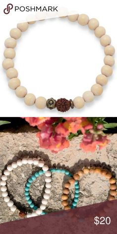 🆕White Wood Bead Stretch Fashion Bracelet 8.5mm white wood beads, 10mm Rudrashka seed bead and brass bead fashion stretch bracelet. The brass beads may vary from bead pictured. Just Men Accessories Jewelry