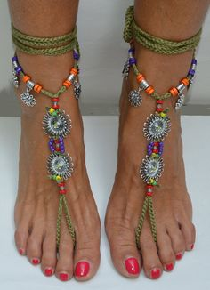 Barefoot sandals SUNFLOWER green anklet anklet Boho Bohemian Hippie Summer FESTIVAL jewelry foot YOGA