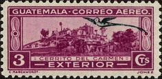 Stamp: Monastery (Guatemala) (Landmarks and Quetzal) Mi:GT 305,Sn:GT C49,Yt:GT PA41