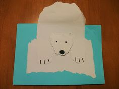 This is an easy and cute polar bear craft.  Materials:      2 sheets of white paper     1/2 a sheet of light blue construction paper  ...
