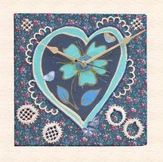 Handmade Fabric Clock Heart and Butterflies £15.00