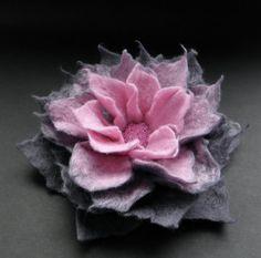 Pink and Steel Gray Felt Flower Pin Brooch Felted by BridgetStudio