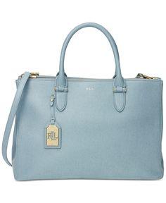 Lauren Ralph Lauren Newbury Double Zip Satchel Light Blue Leather Shoulder Strap Handbag Designer Fashion