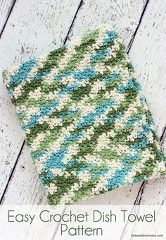Easy crochet dish towel pattern. This pattern is alternating single and double crochet stitches.