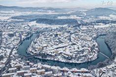 Aerial view of Novo Mesto, the capital city of the Lower Carniola region of Slovenia