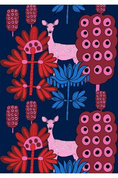 Beautiful reindeers and fantastic flowers is the lovely motif on the Kaunis Kauris fabric from Marimekko, available in two lovely color combinations - blue and red or blue and turquoise. Design by Teresa Moorhouse. Textiles, Textile Prints, Textile Patterns, Textile Design, Color Patterns, Fabric Design, Print Patterns, Pattern Design, Scandinavian Fabric