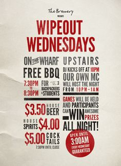 The Brewery - Wipeout Wednesdays Poster Poster Designs, Brewery, Home Goods, Hold On, Bbq, Spirit, Live, Creative, Barbecue