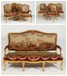 Important mobilier de salon en bois doré recouvert de tapisserie d'Aubusson Comprenant un canapé, quatre fauteuils et quatre chaises. Modèle à dossier plat sculpté de fleurettes en son milieu, au milieu… - Massol - 18/12/2015