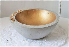 Beton Schale gold Perlen
