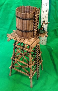 Popsicle Stick Crafts, Craft Stick Crafts, Forte Apache, Old Western Towns, Tabletop, Wargaming Terrain, Model Train Layouts, Le Far West, Water Tower