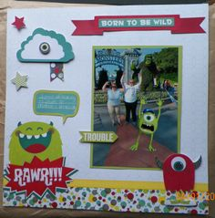 handmade scrapbook page:  Disneyworld, Hollywood Studios, Mike, Monsters Inc., Bo Bunny our Lil' Monster