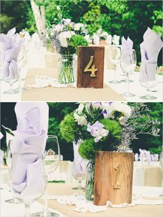 DIY table numbers with piece of wood and house numbers. ---> http://www.weddingchicks.com/2014/05/12/northern-california-farm-wedding/