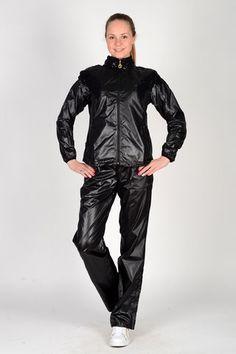 Shiny black nylon outfit